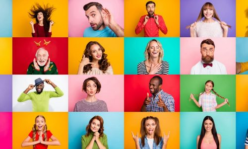 Photo collage of group of glad cheerful excited astonished funky, scared surprised people person youngsters children having bright facial expressions isolated over multicolored background